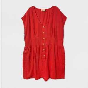 NWT Red Short Sleeve Kimono Button-Front Romper